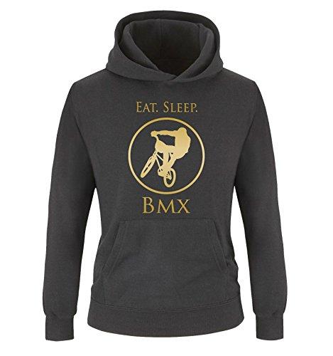 Comedy Shirts - EAT. Sleep. BMX - Kinder Hoodie - Schwarz/Gold Gr. 134/146