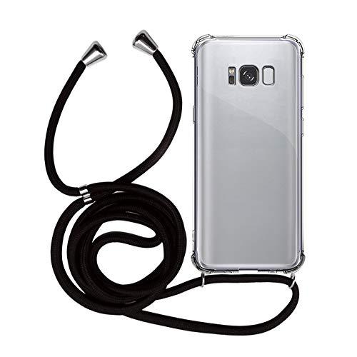 MyGadget Handykette für Samsung Galaxy S8 Plus TPU Hülle mit Handyband zum Umhängen - Handyhülle mit Band Halskette Kordel Schnur Case Schutzhülle - Schwarz