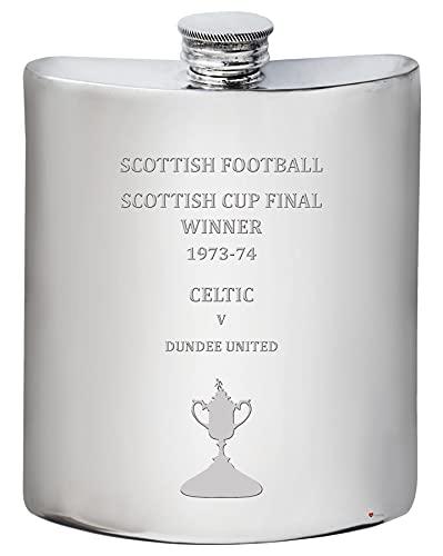 I LUV LTD 6oz Hip Flask for Glasgow CELTIC FC 1973-74 Scottish Cup Final Winner Football Soccer Memorabilia Mens Birthday Personalised Pewter Gifts