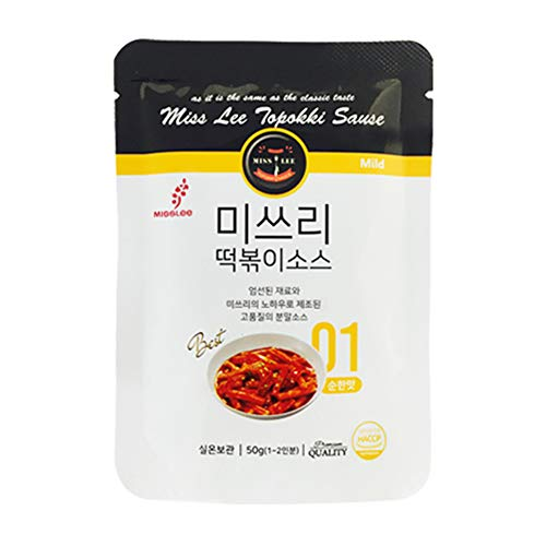 MISSLEE Food TTEOKBOKKI Sauce Korean Foods toppogi Ddeokbokki Stir-Fried Rice Cake Sauce Level 1 Mild and Sweet, Pack of 5