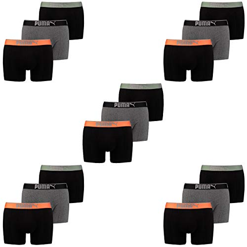 PUMA Herren Boxershort Lifestyle Sueded Cotton 15 er Pack, Farbe:318 - Black/orange, Bekleidungsgröße:S