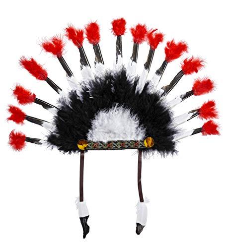 Widmann 33045 Indianer Feder Kopfschmuck, Unisex– Erwachsene, Mehrfarbig