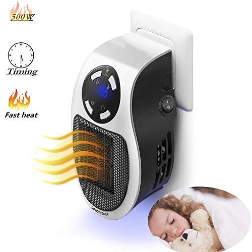Nifogo Calefactor de 500 W, Calefactor portátil, Calefactor eléctrico con termostato, Cierre automático, Enchufe Giratorio para el hogar/Oficina (Blanco-3)