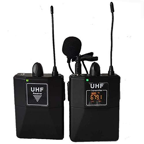 HAFOKO MC-5 16 Canales UHF Micrófono Inalámbrico de Solapa Micrófonos Inalámbricos Compatibles con Cámaras DSLR,Canon,Teléfono Inteligente,Videocámara,Interior,Exterior (Necesita Interfaz de 3.5 mm)