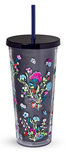 Vera Bradley Acrylic Insulated Travel Tumbler with Reusable Straw, 24 Ounces, Itsy Ditsy