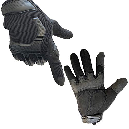 Protective Motorcycle Gloves Work Gloves, Touch Screen Leather and Hard Knuckle Full Finger for Military Tactical Bike Cycling Racing Hunting Airsoft Paintball Shooting Work (Black, L:8.27-8.66
