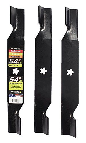 MaxPower 561747 Blade Set for 54 Inch Cut Poulan/Husqvarna/Craftsman Replaces 187256, 532187256
