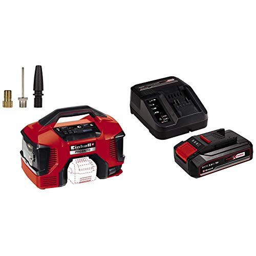 Einhell Akku-Kompressor PRESSITO Power X-Change (Li-Ion, 18/230 V, max. 11 bar, Hybrid-Funktion, Hochdruck-, Niederdruckpumpe, inkl. 3-tlg. Adapter-Set, inkl. 2,5 Ah Akku und Ladegerät)