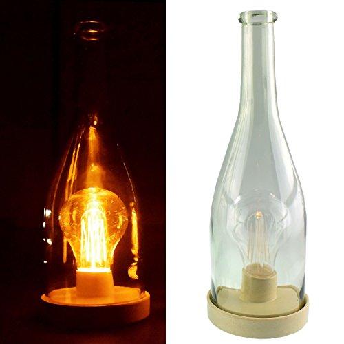Vintage LED Flasche Flaschenlicht Flaschenbeleuchtung mit Retro Glühbirne (weiß)