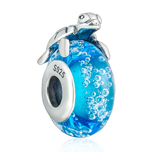 925 Sterling Silver Hawaiian Sea Turtle Charm Dangle Chritmas Holiday Pendants with Blue Murano Glass Travelers Gifts for Women or Girls DIY European Style Bracelet&Necklace
