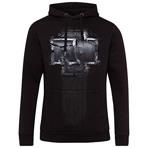 Rammstein Herren Kapuzenpullover Broken Logo Offizielles Band Merchandise Fan Hoodie schwarz mit mehrfarbigem Front und Back Print (XL)