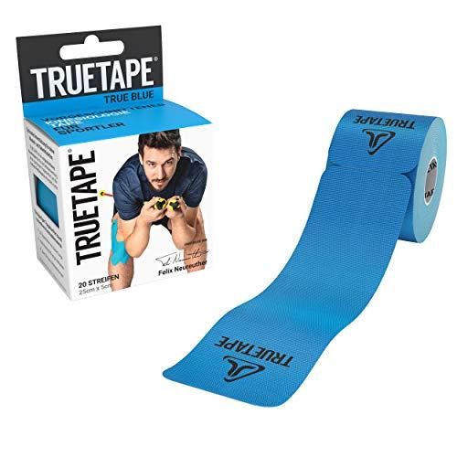 TRUETAPE® - Kinesiotapes vorgeschnitten | wasserfestes & elastisches Kinesiologie Tape | 20 Precut-Streifen á 25cm x 5cm | hautfreundlich und starker Halt | Blau
