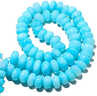 18 inch strand natural blue opal 7-14 mm rondelle smooth beads for jewelry - blue opal smooth rondelle beads, opal rondelles, peruvian blue opal beads, 7mm to 14mm rondelle beads, 18 inch strand