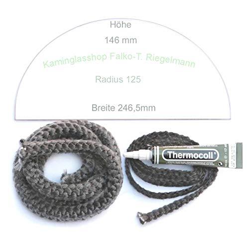 Glasmanufaktur u. Bauelementevertrieb Riegelmann Kaminglas Sichtscheibe 5 mm passend für Bullerjan 00/01 mit Dichtungsset 2