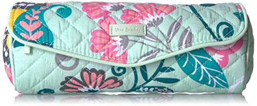 Vera Bradley Women#039s Signature Cotton On a Roll Cosmetic Case Mint Flowers One Size
