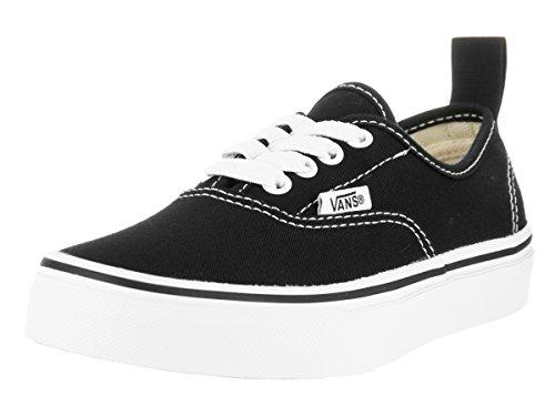 Vans Kids Authentic Elastic (Elastic Lace) Skate Shoe Black/True White 13