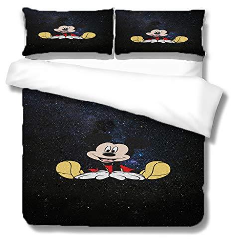 Juego de funda de edredón de Mickey Mouse, ultra suave y cómodo con cierre de cremallera, juego de cama para niños, tamaño doble 200 × 200 cm
