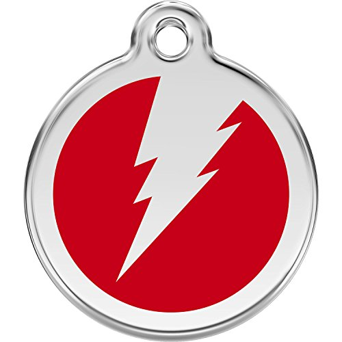 Red Dingo Personalized Flash Pet ID Dog Tag (Medium Red)