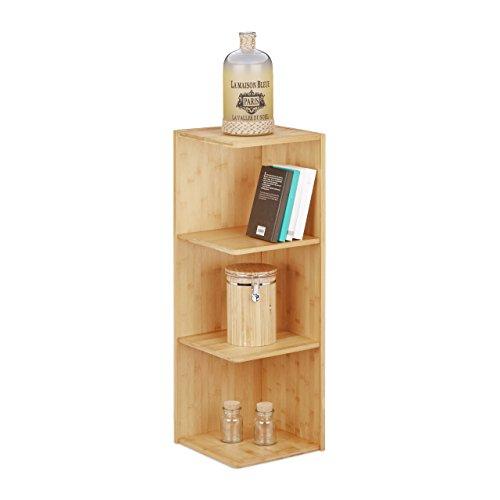 Relaxdays Eckregal Bambus, 3 Ablagen HxBxT: 85,5 x 29 x 29 cm, Bücherregal, Küchenregal, Aufbewahrung, Lagerung, natur