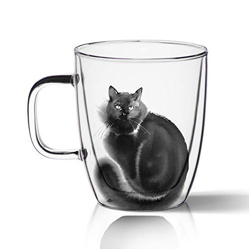 Doppelwand Gläser Espressogläser Glastassen Kaffee Teegläser Thermogläser Handgemalte Katze Doppenwandige Tassen Cappuccinotassen Für Teelatte Cola Getränk Isoliert Mundgeblasen Transparent (D)