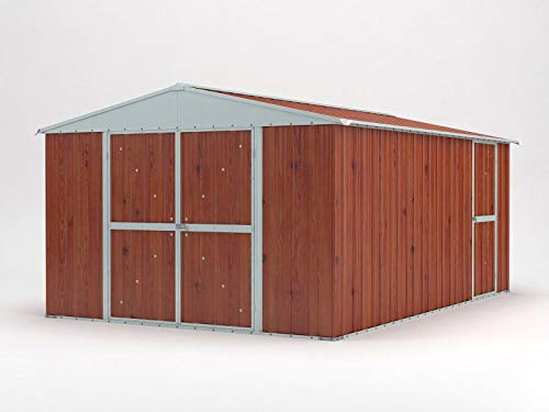 Notek Srl Box in Acciaio Zincato Casetta da Giardino in Lamiera 3.60 x 4.30 m x h2.10 m - 185 kg - 15 Metri Quadri (Finitura Legno)