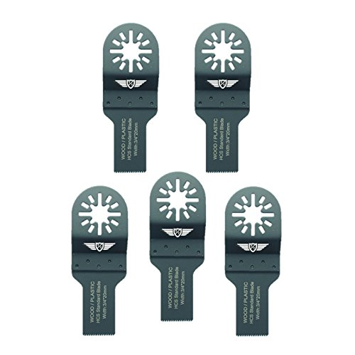 5 x 20 mm TopsTools UN20F_5 cuchillas para madera para Bosch Fein (No-StarLock) Makita Milwaukee Einhell Hitachi Parkside Ryobi Worx Multi-herramienta Workzone Multi herramienta accesorios
