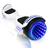CBD Flash Hoverboard, Two-Wheel 6.5 inch Self Balancing Hoverboard with Bluetooth and LED Lights for Kids Adults, White