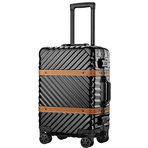 (P.I.) 旅行用 スーツケース キャリーケース TSAロック 半鏡面仕上げ アライン加工 アルミフレーム レトロ 旅行 出張 軽量 静音 ファスナーレス 保護カバー付き