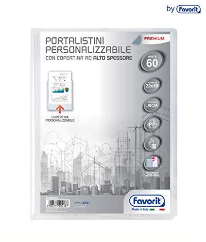 Favorit 400090486 Portalistino Personalizzabile Premium con 60 Buste lisce, Formato Interno 22X30 cm, Copertina ad alto spessore, Trasparente