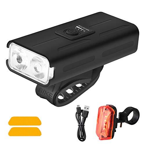 Bumlon LED Fahrradlicht Set, USB Aufladbar Fahrradlichter, IPX4 Wasserdicht Frontlicht Rücklicht Fahrradlampe Fahrradbeleuchtung Set, 1000 Lumen/4 Leuchtmodi, W/2 reflektierende Aufkleber