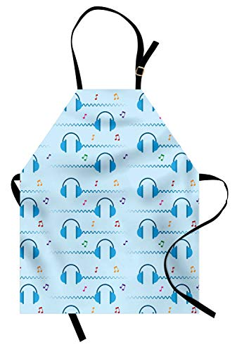 ABAKUHAUS Muziek Keukenschort, Koptelefoon DJ Pattern Art, Unisex Keukenschort met Verstelbare Nekband voor Koken en Tuinieren, Pale Azure Blue