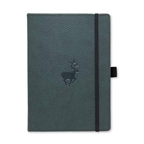 Dingbats D5023G Wildlife A5+ Hardcover Notizbuch - PU-Leder, Mikroperforiert 100gsm Creme Seiten, Innentasche, Gummiband, Stifthalter, Lesezeichen (Gepunktet, Grüne Hirsche)