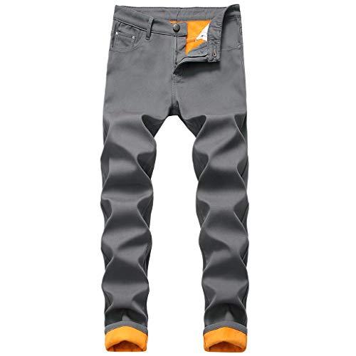 Heren winterjogger cargo chino jeans broek elastische heupband met zakken vrije tijd denim straight jeans pluche verdikkingsbroek lange broek 34 EU donkerblauw