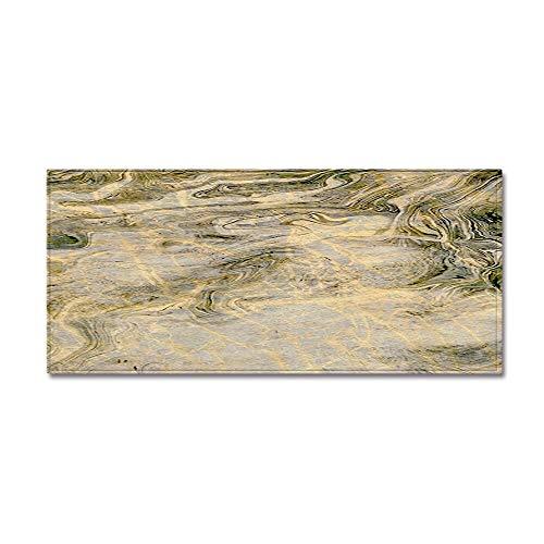 WESG Alfombra Estampada con patrón de mármol, Alfombra de la Puerta de la Sala de Estar del Dormitorio, Alfombra de Cocina Antideslizante de Franela, Alfombra de baño Lavable NO.3 60X180cm