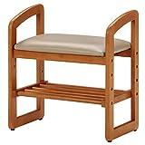 不二貿易 玄関椅子 玄関ベンチ ナチュラル 木製 サポートチェア 95778