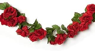 Red Roses Garland - 6 Feet Long Leafy Green Stem