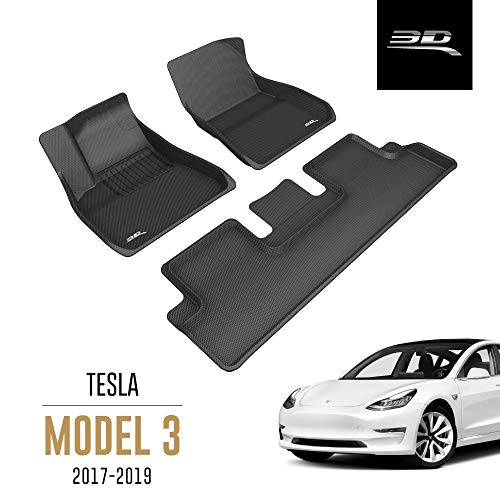 3D MAXpider All-Weather Floor Mats for Tesla Model 3 2017 2018 2019 Custom Fit Car Floor Liners, Kagu Series (1st & 2nd Row, Black)