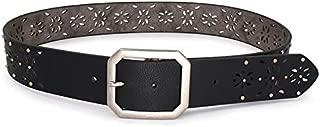 SGJFZD Hollow Versatile Printed Rivet Rotating Buckle Ladies Fashionable Belt (Color : Black, Size : 80-100cm)