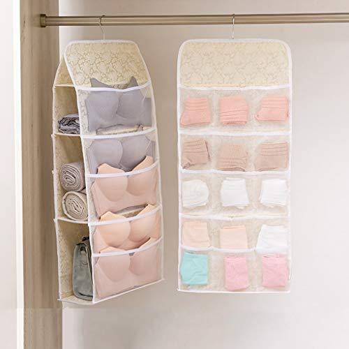 VOCD Closet Hanging Organizer met netvakken en draaibare metalen beugel, dubbelzijdige plaatsbesparende tas voor beha ondergoed onderbroeken sokken