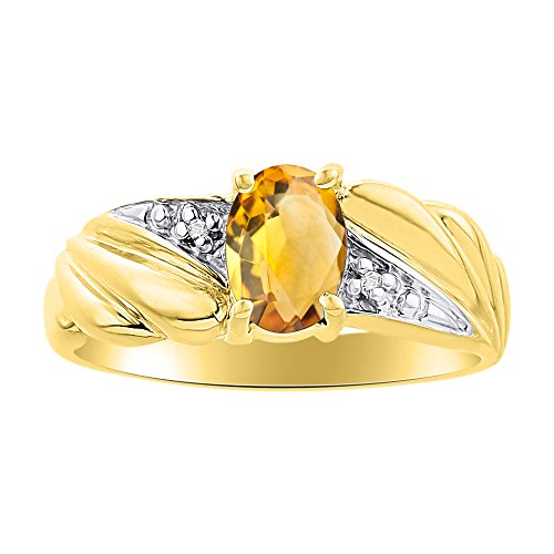 Juego de anillos de oro amarillo de 14 quilates con piedra natal de diamante y citrino