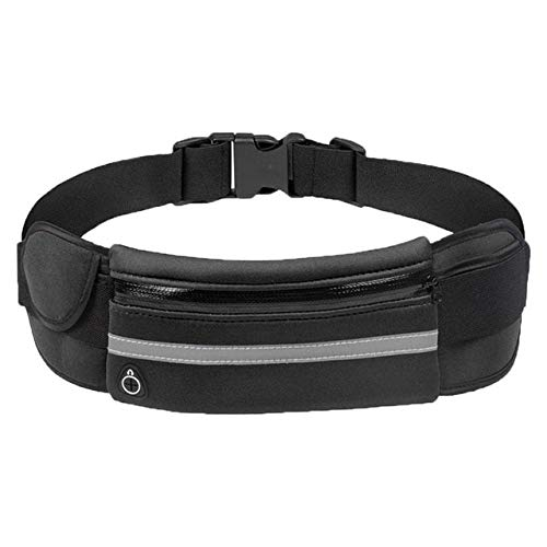 Waist Bum Bag Fanny Pack Belt Money For Running Jogging Cycling Phones Sport Running Waterproof Belt Waist Bags - Pure Black
