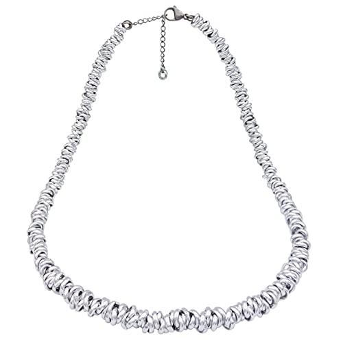 ParticolarModa Collana nodini intrecciati regolabile per donna in alluminio e acciaio spessore 6 mm