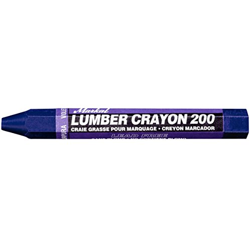 Markal 200 Lumber Crayon Economical Wax Based Marker, 1/2' Hex, 4-5/8' Length, Purple (Pack of 12)