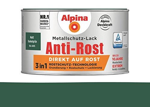 Alpina 300 ml Metallschutz-Lack, 3in1 Direkt auf Rost, RAL 6005 Dunkelgrün Matt