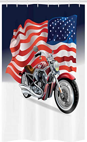 ABAKUHAUS Varonil Cortina para baño, Moto y la Bandera de EE.UU, Tela con Estampa Digital Apta Lavadora Incluye Ganchos, 120 x 180 cm, Multicolor