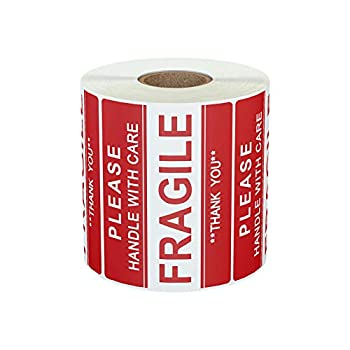 AveneMark Fragile Sticker 3 x 2  Please-Handle with Care-Fragile-Thank You Red Warning Shipping Label Stickers  1 Roll 500 Labels