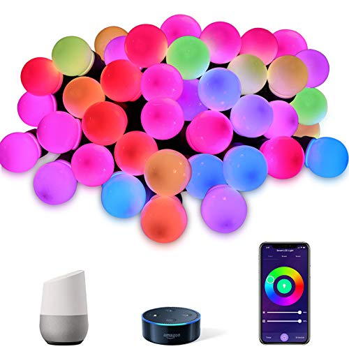 VELTED 49FT Smart Outdoor String Lights Color Changing Works with Alexa&Google Home, Christmas Hanging String Lights RGB with 15 LED Bulbs Waterproof, Commercial Grade Patio Café Yard Garden Light