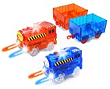 HAPISIMI Track Train (2-Pack), Multi-Color Light Up Flashing LED Glow in The Dark Trains Accessories Compatible with Most Tracks Including Neo & Magic Track, Boys and Girls (Red & Blue)…