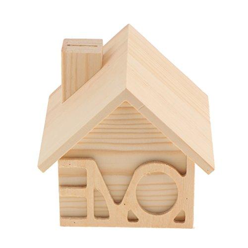 Baosity Estuche de Madera Forma Casa para DIY Hucha Caja de Ahorro de Dinero Moneda