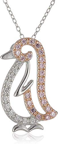 Rhodium-Plated Sterling Silver Pink and Clear Cubic Zirconia Pavé-Setting Penguin Pendant Necklace, 18'